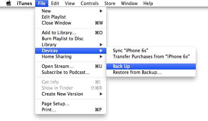 Backup iPhone 6s to iTunes