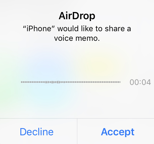 Accept the voice memo from your iPhone