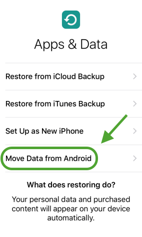 Transfer Data from Samsung to iPhone