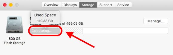 Sierra Storage Stuck on Calculating