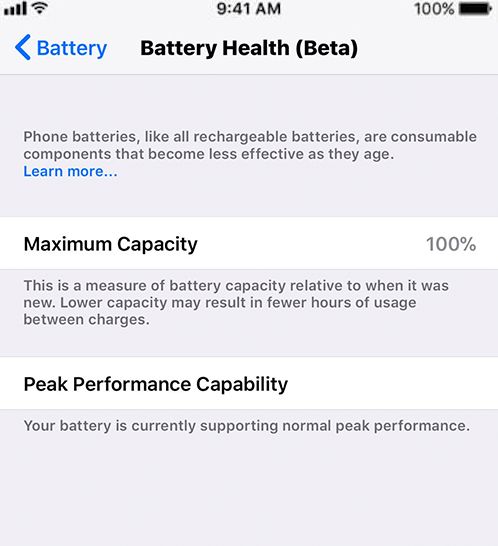 iOS 11.3 Battery Perfamance - Capacity and Peak Capability