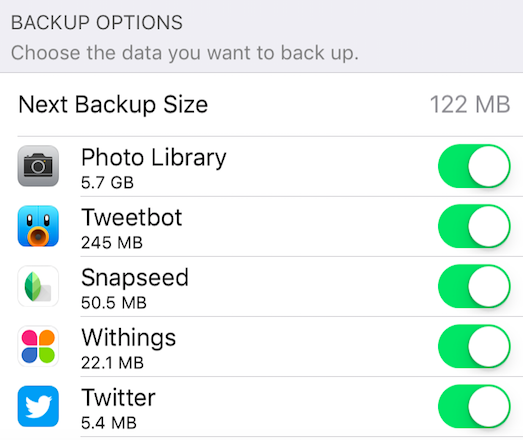 Remove app caches from iCloud backup