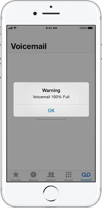 iPhone pop-up warning says voicemail is 100% full