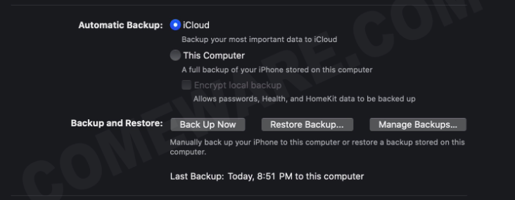 Back up iPhone in macOS Catalina