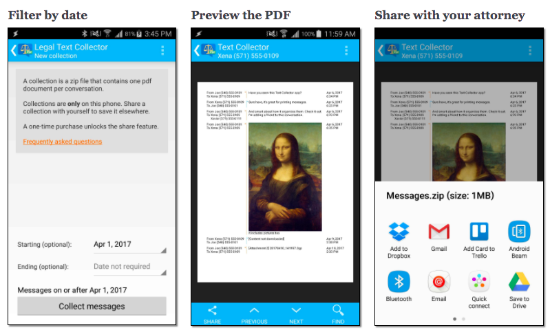 Print messages for court with Legal Text Collector